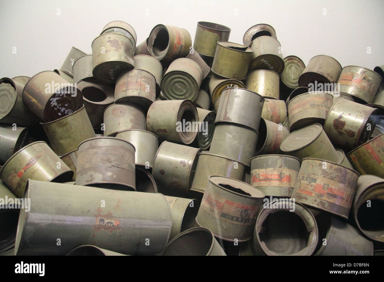 Empty poison gas canisters of Zyklon B that were used by Nazis to poison prisoners at extermination camps - Stock Image