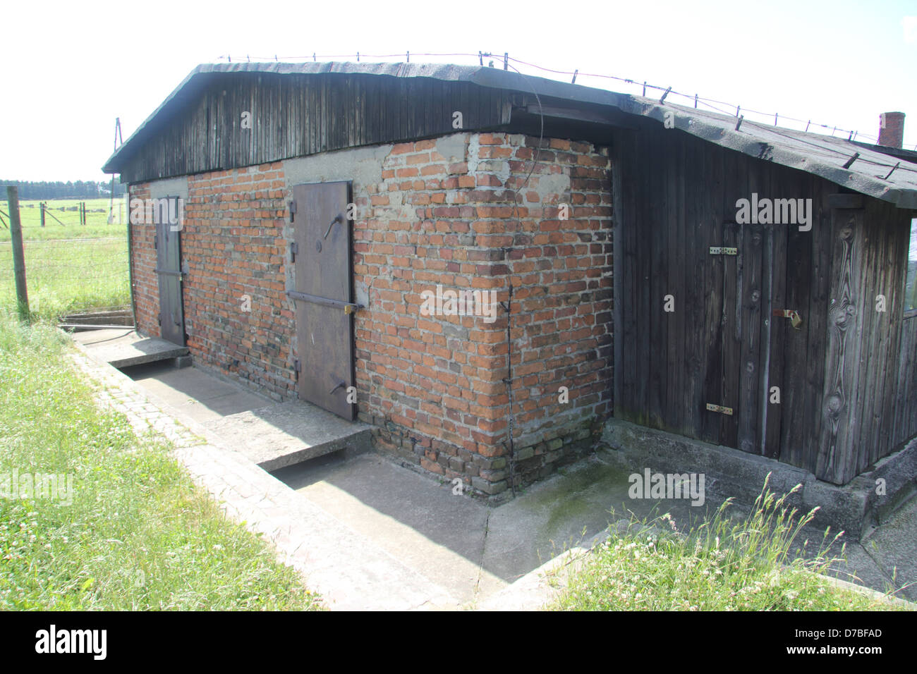 The back side of barrack 41 of Majdanek Gas Chamber - Stock Image
