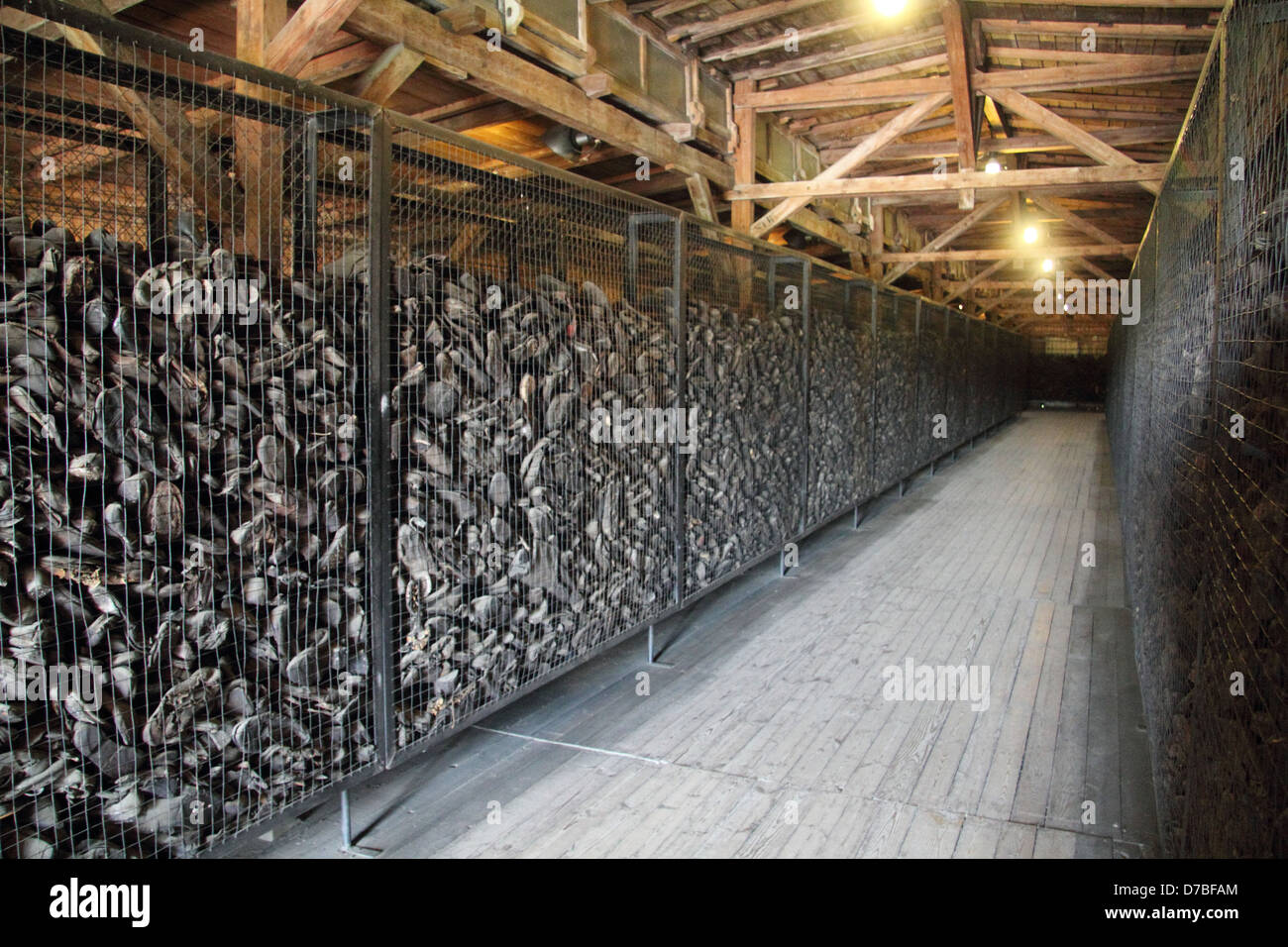 Thousands of shoes (Estimated 50,000 pairs) of the victims displayed at Majdanek death camp - Stock Image