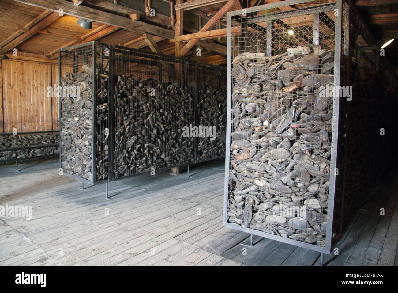 Thousands of shoes (Estimated 50,000 pairs) of the victims displayed at Majdanek death camp Stock Photo