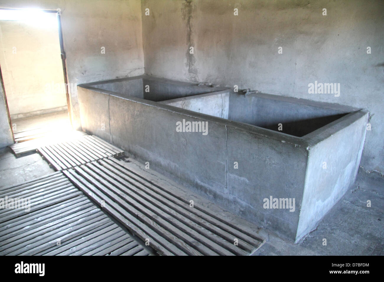 Concrete bath tubs at \'Bath And Disinfection\' Barrack 41 in Majdanek ...