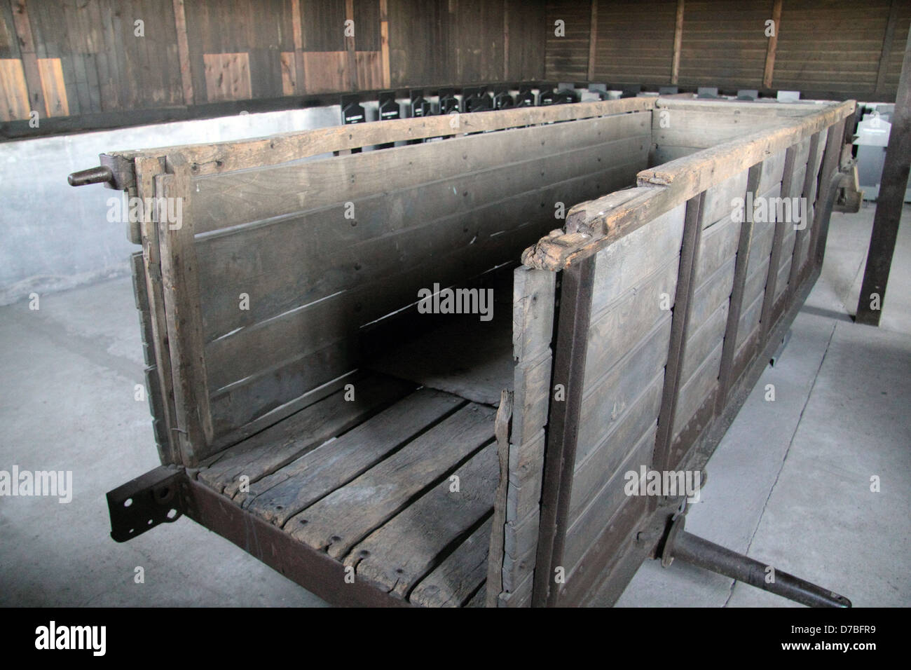 Cart which was used to carry bodies from the gas chambers to the crematorium at Majdanek death camp, Poland - Stock Image