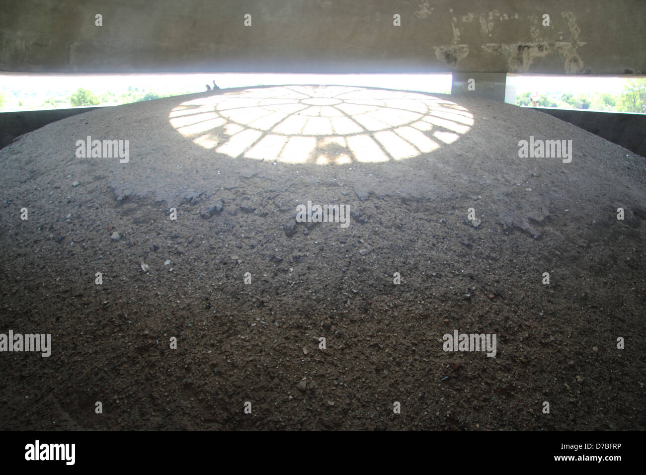 Victims' ashes displayed beneath the Dome of the Mausoleum At Majdanek Memorial Site Stock Photo