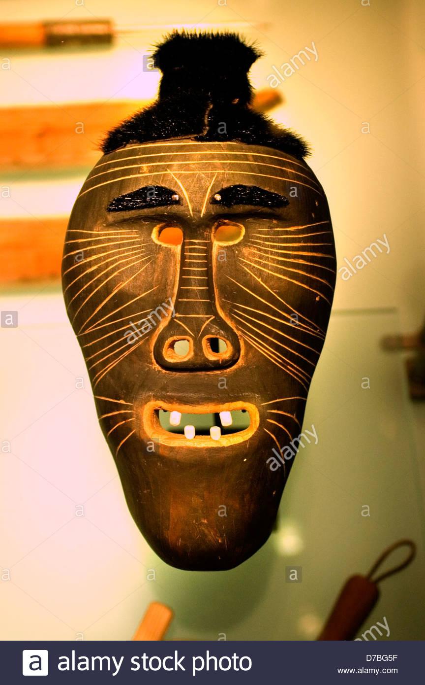 Mask Woman Tunumiit Greenland - Stock Image