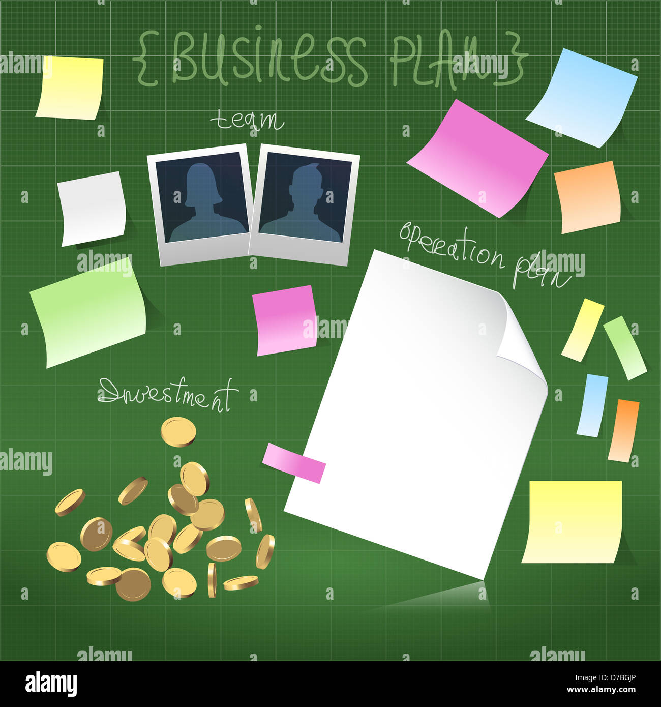 Business plan in development on a green blueprint background stock business plan in development on a green blueprint background malvernweather Images