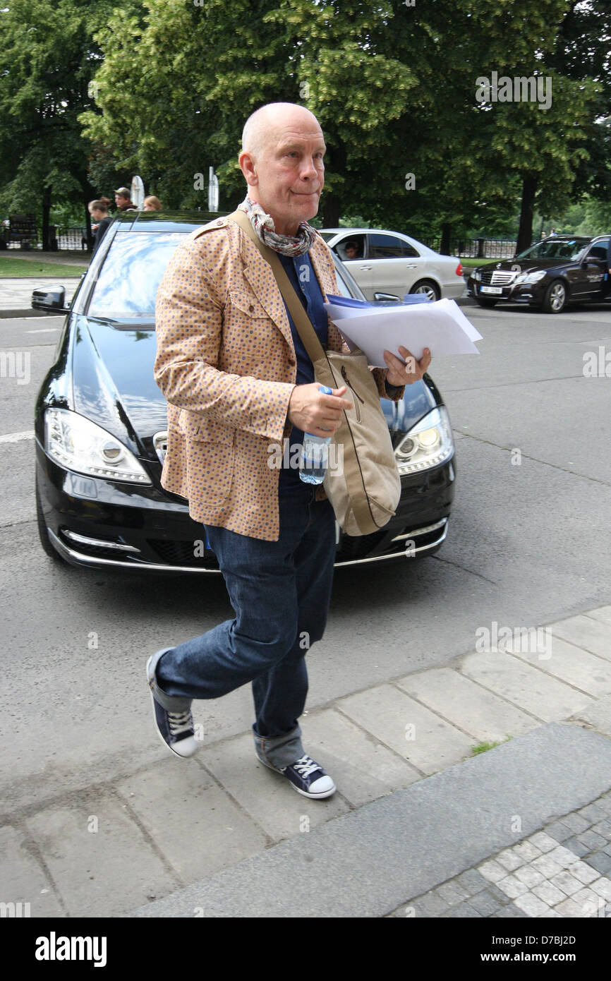 John Malkovich arrives at Rudolfinum to rehearse for his show 'Infernal Comedy' during the Prague Spring Festival Stock Photo