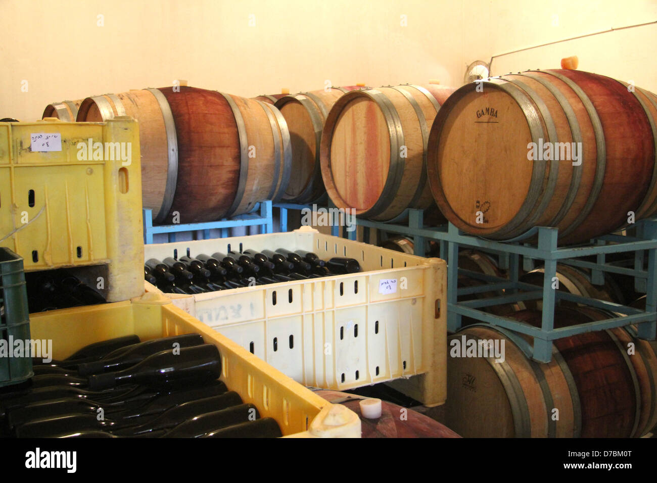 The wine cellar of Neot Smadar Winery in the southern Negev - Stock Image