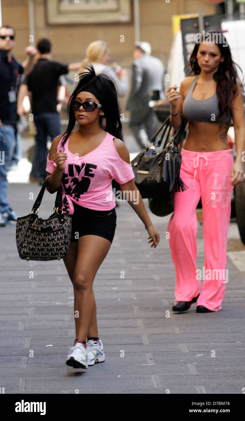 36e403d340fd5 Nicole  Snooki  Polizzi and Jennifer  JWOWW  Farley The cast of  Jersey  Shore  running errands in Florence Florence