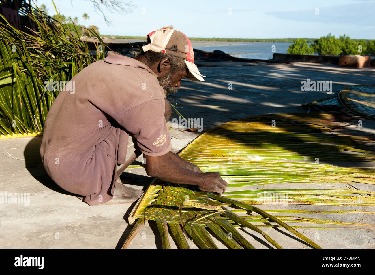 Traditional mat weaving, Ibo island, Mozambique - Stock Image