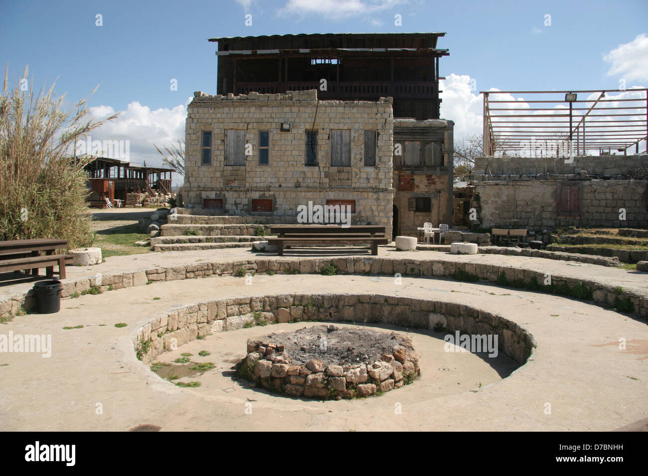 the courtyard of achzibland, western galilee - Stock Image