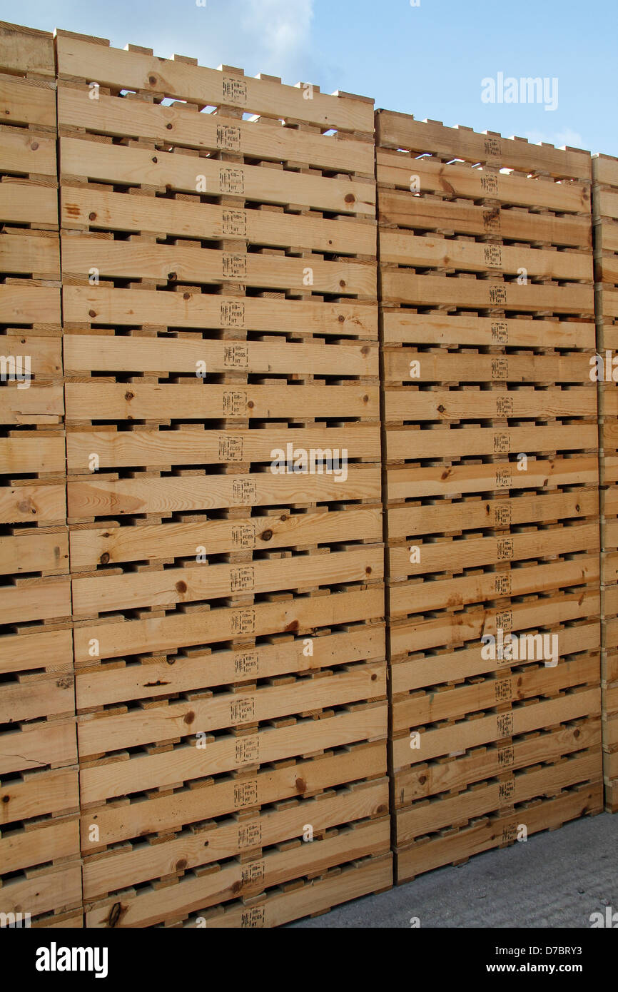 Stack Of Wooden Pallets With Heat Treated Markings
