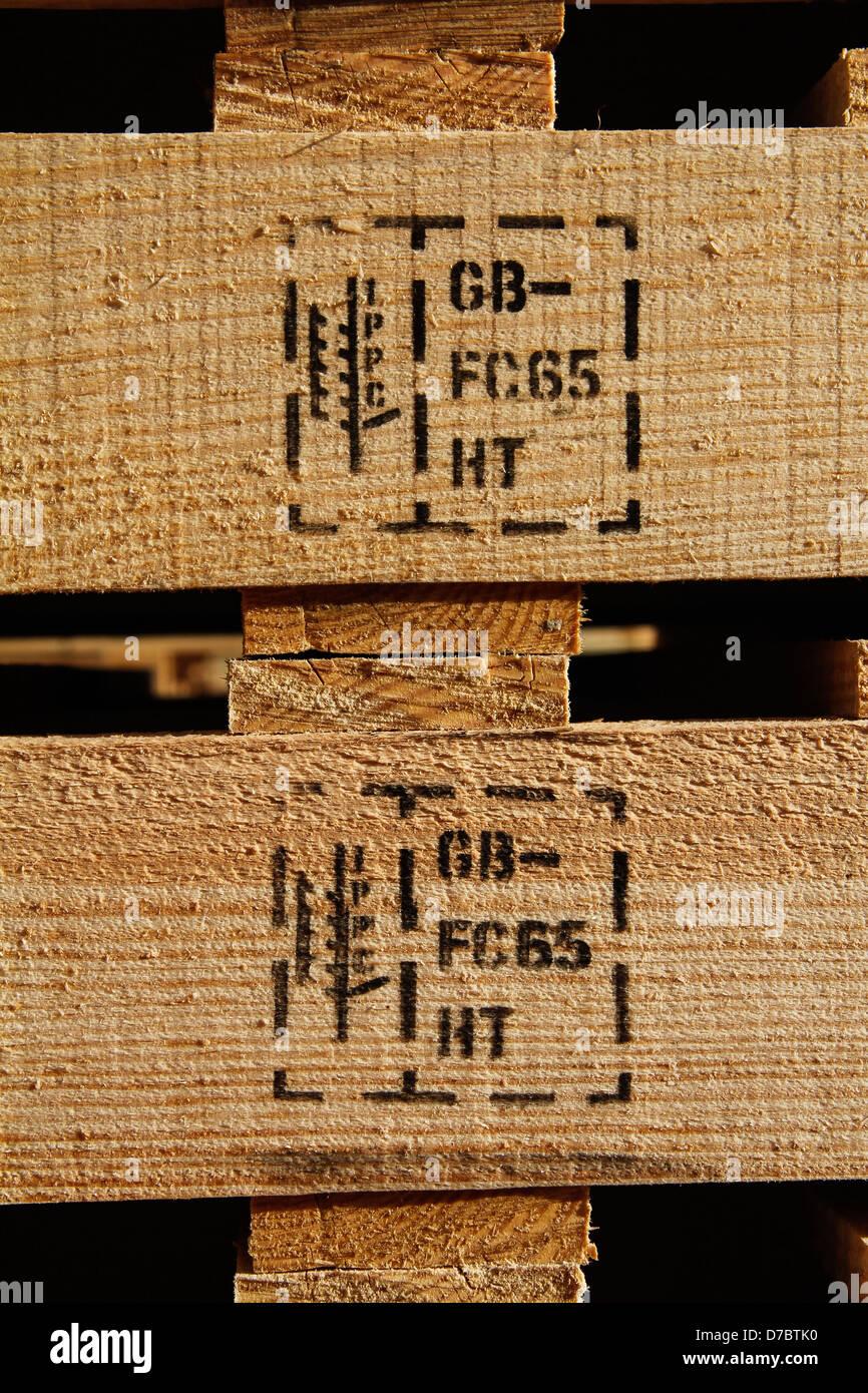 Heat treated wooden pallet marking - Stock Image