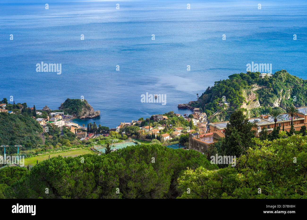 Europe Italy, Sicily, view of the sea and Isola Bella from Taormina - Stock Image