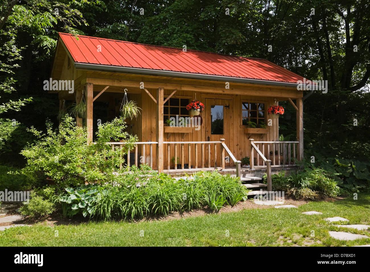 Workshop And Storage Shed In A Residential Back Yard Garden;Quebec ...