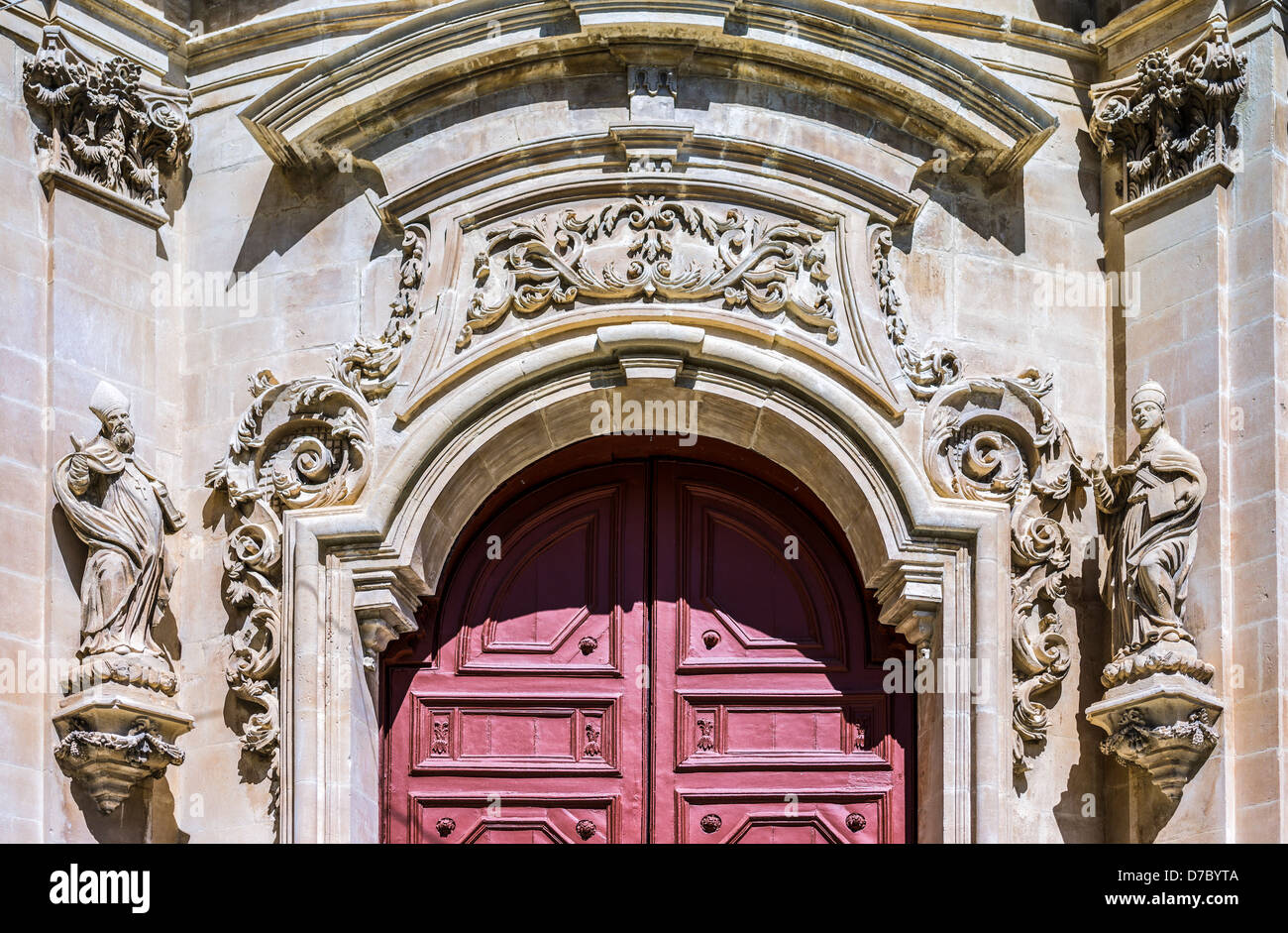 Europe Italy, Sicily,Ragusa,Ibla, the facade detail of the San Giuseppe church - Stock Image