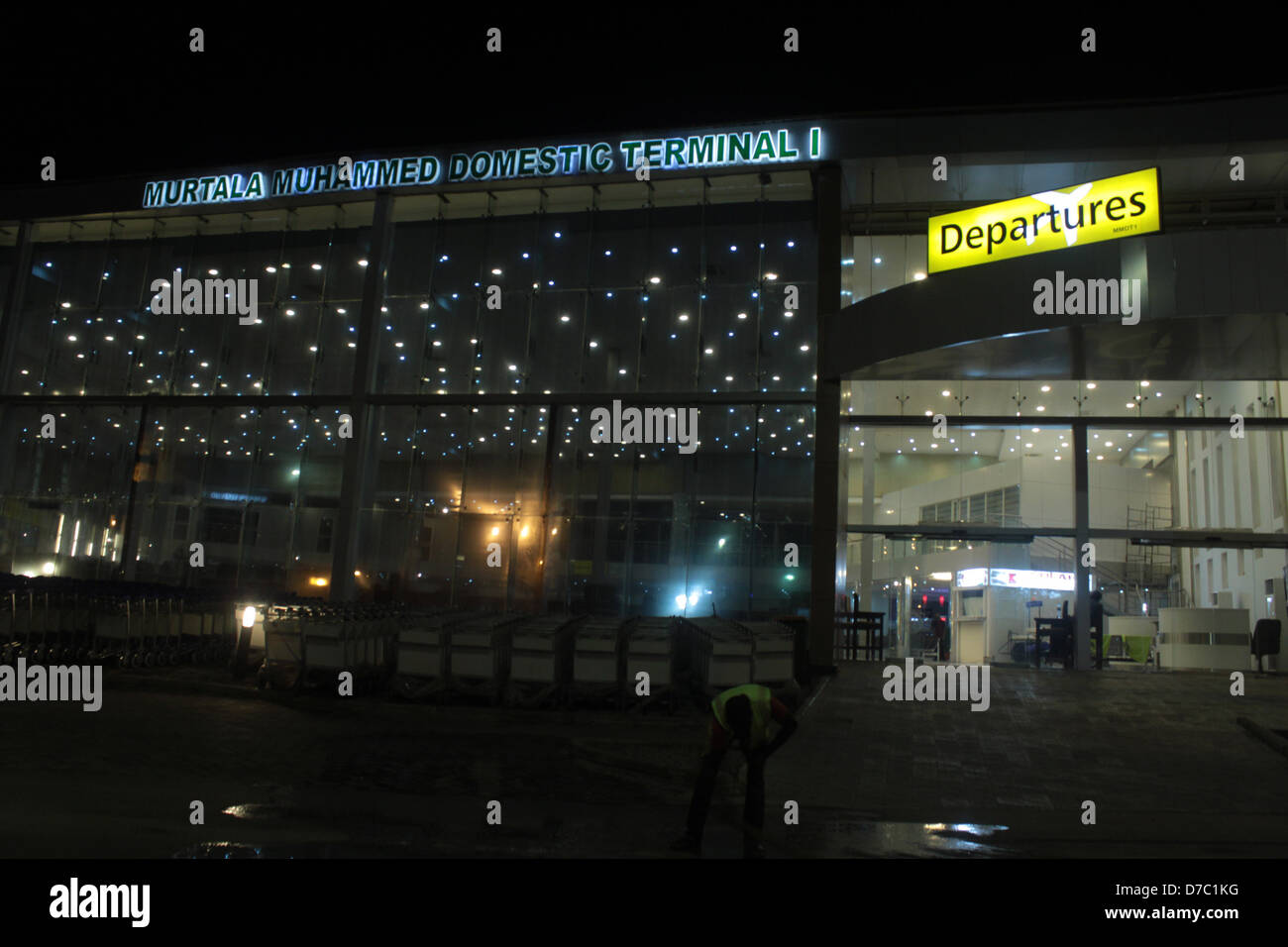 A night view of Murtala Muhammed Domestic Terminal 1 in Lagos. - Stock Image