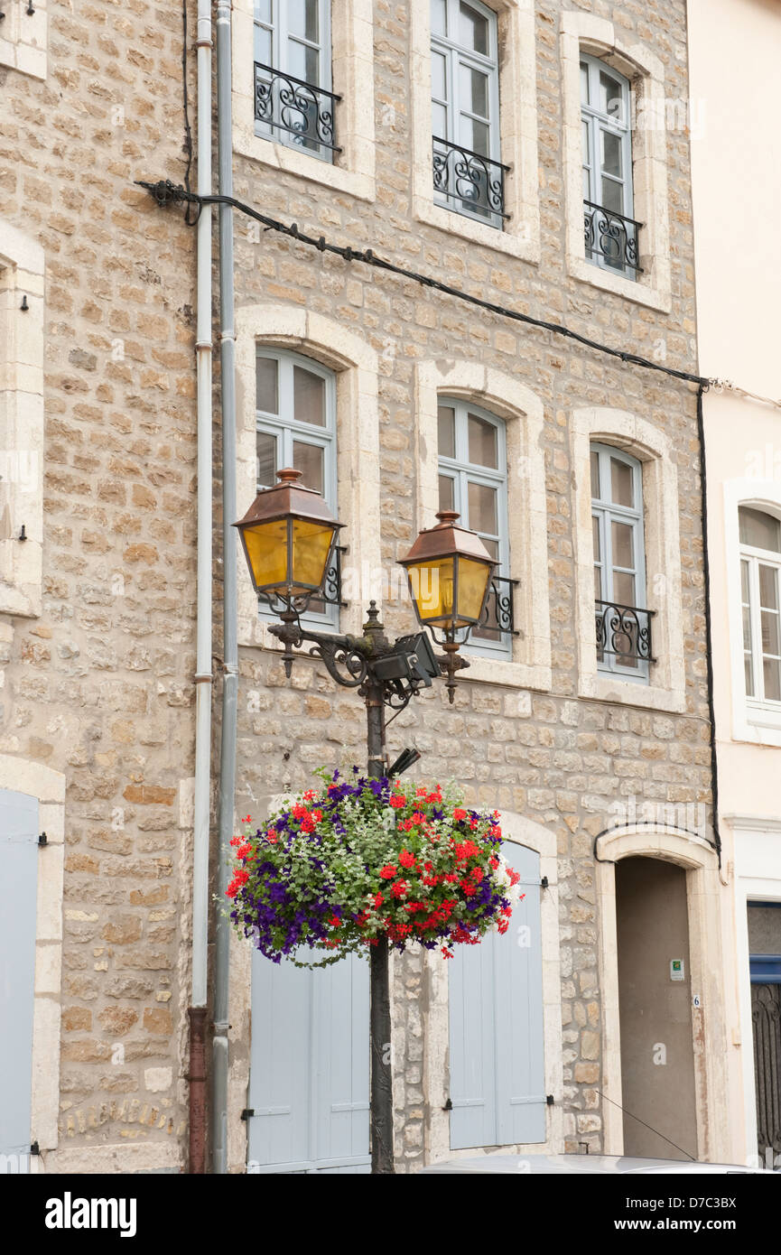 Old street lamp and flowers picturesque Boulogne-Sur-Mer France Europe EU - Stock Image