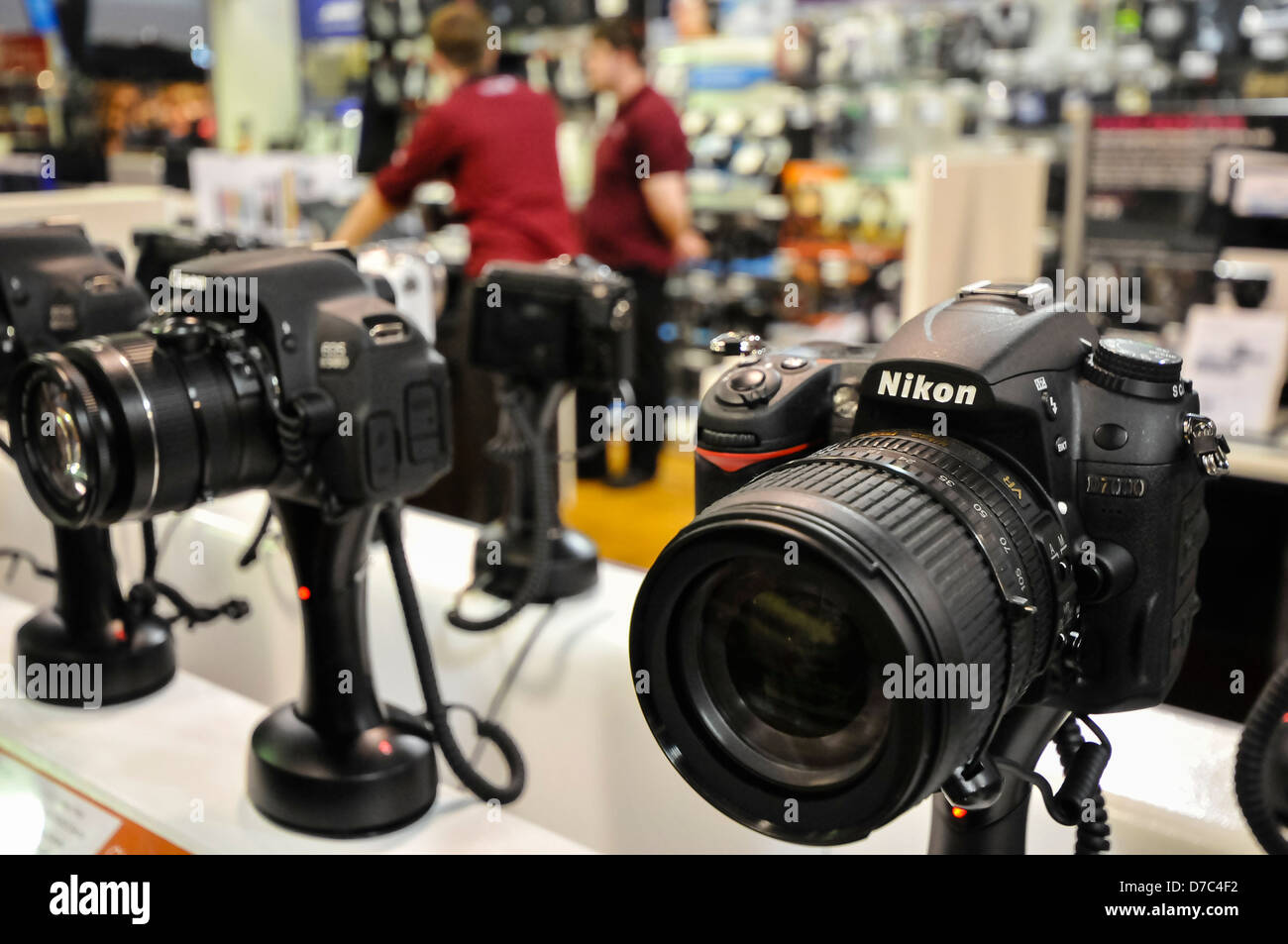 Cameras on sale in a Dixons Travel airport shop. - Stock Image