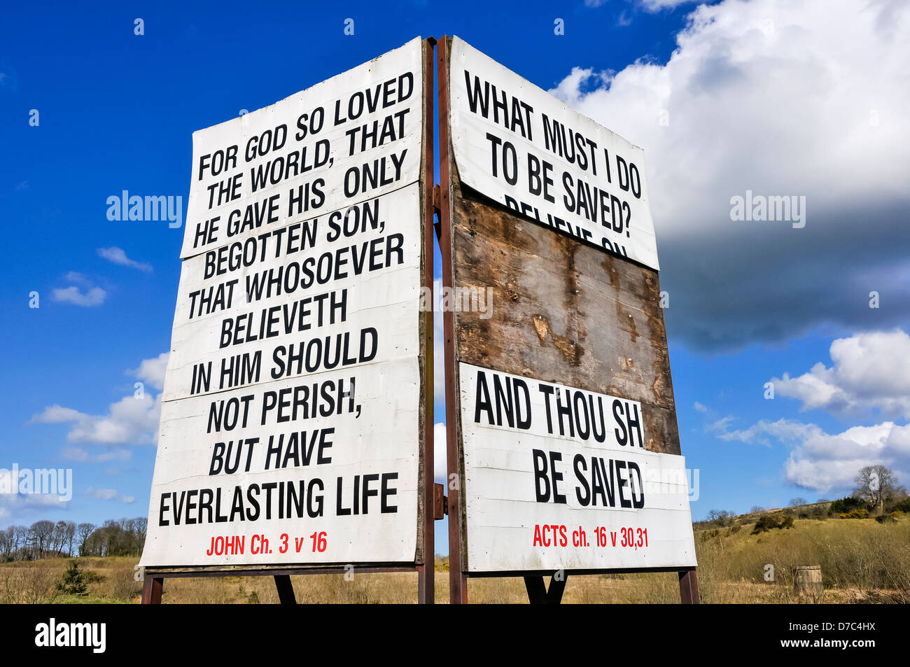 Religious sign typical of many erected in rural Protestant areas of Northern Ireland. - Stock Image