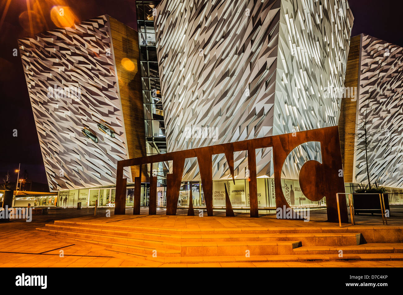 Titanic Building, Belfast, at night - Stock Image