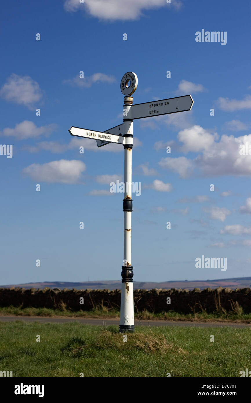 Old road sign in East Lothian, Scotalnd - Stock Image
