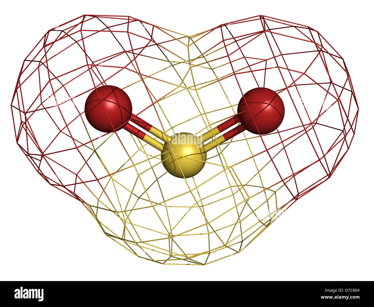 Sulfur dioxide (sulphur dioxide, SO2) gas, molecular model. - Stock Image