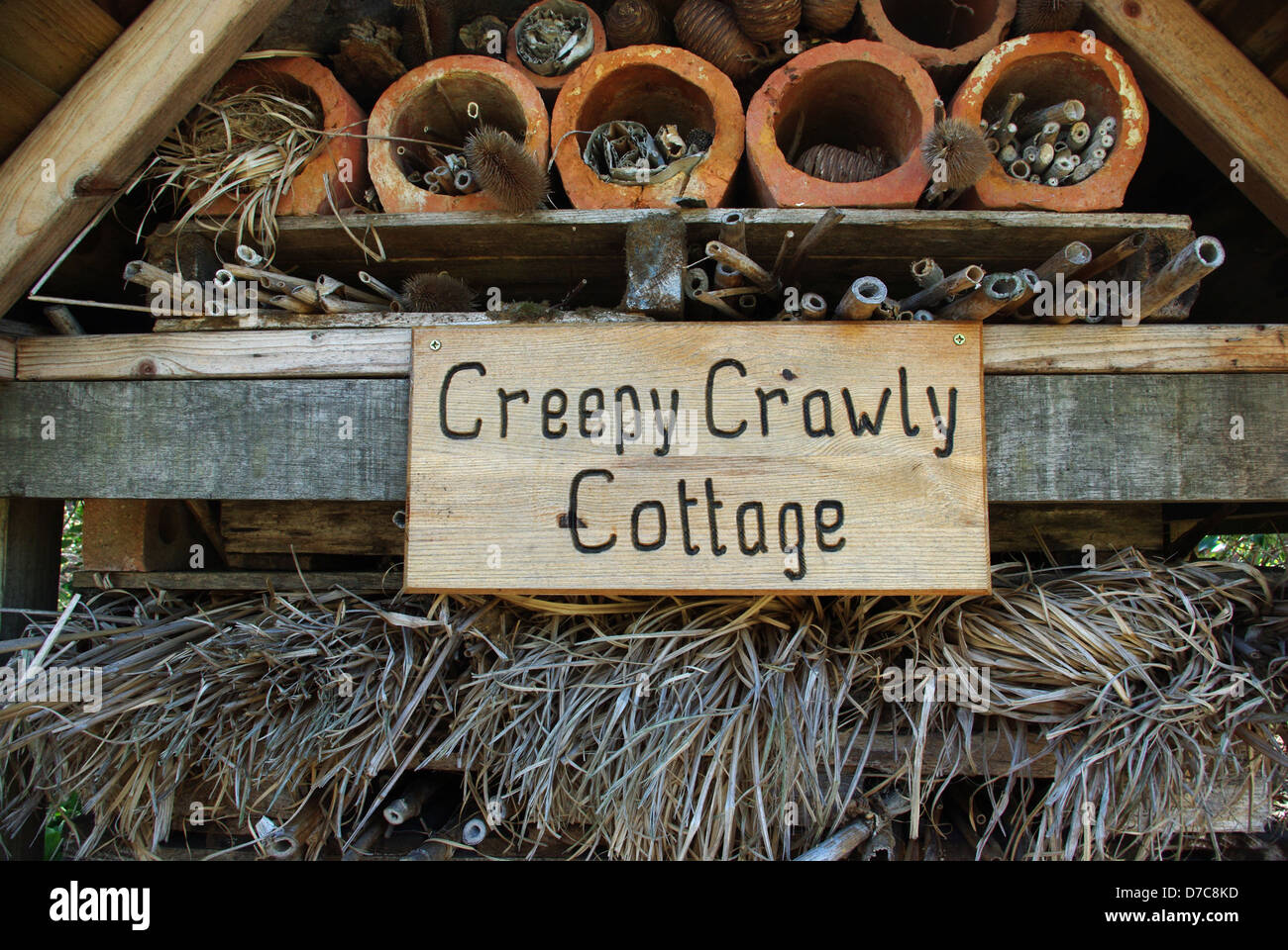 Creepy Crawly Cottage, a constructed habitat for insects. - Stock Image