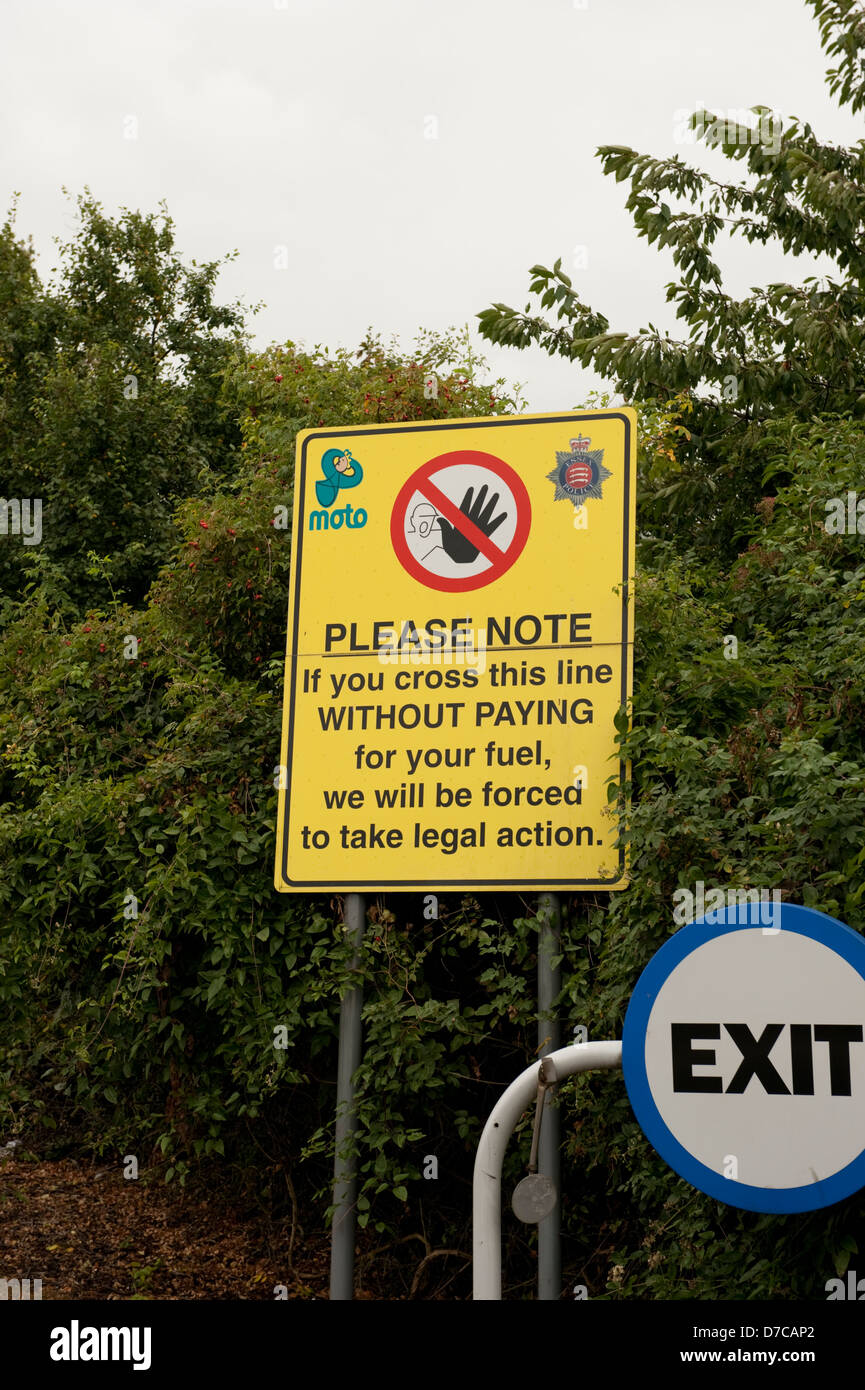 Gas Petrol Fuel station theft warning sign - Stock Image