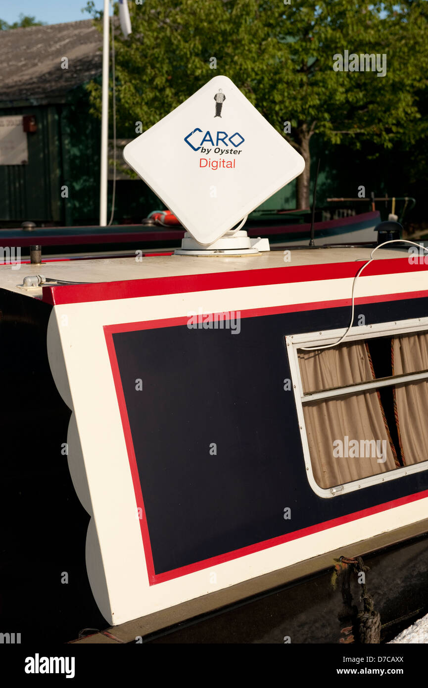 Squarial Caro Digital TV Aerial Canal Boat - Stock Image