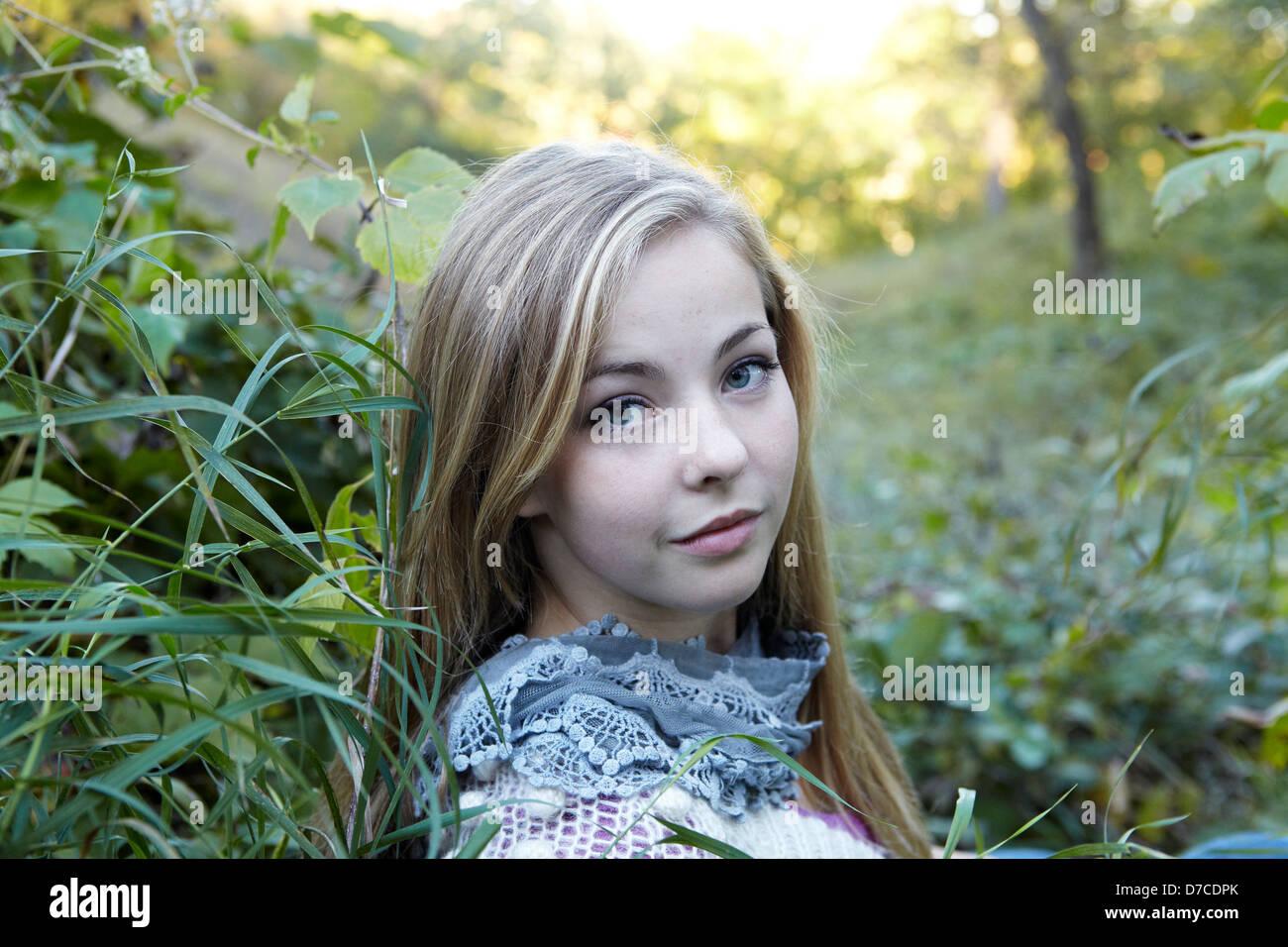 beautiful teen girl in autumn meadow Stock Photo