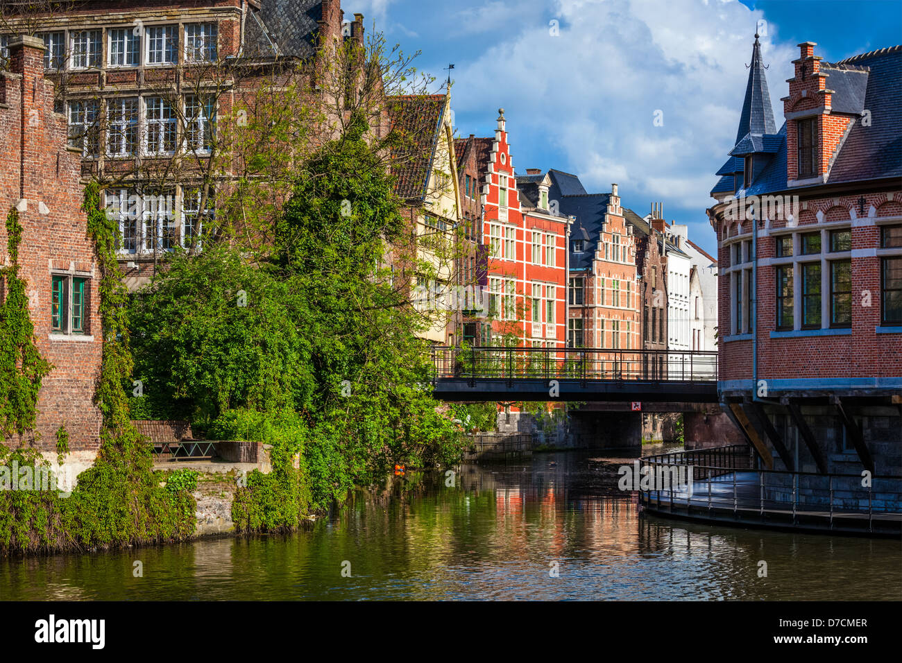 Travel Belgium medieval european city town background with canal. Ghent, Belgium - Stock Image
