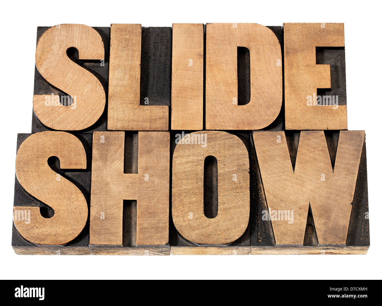 slide show - presentation concept - isolated text in vintage letterpress wood type printing blocks - Stock Image