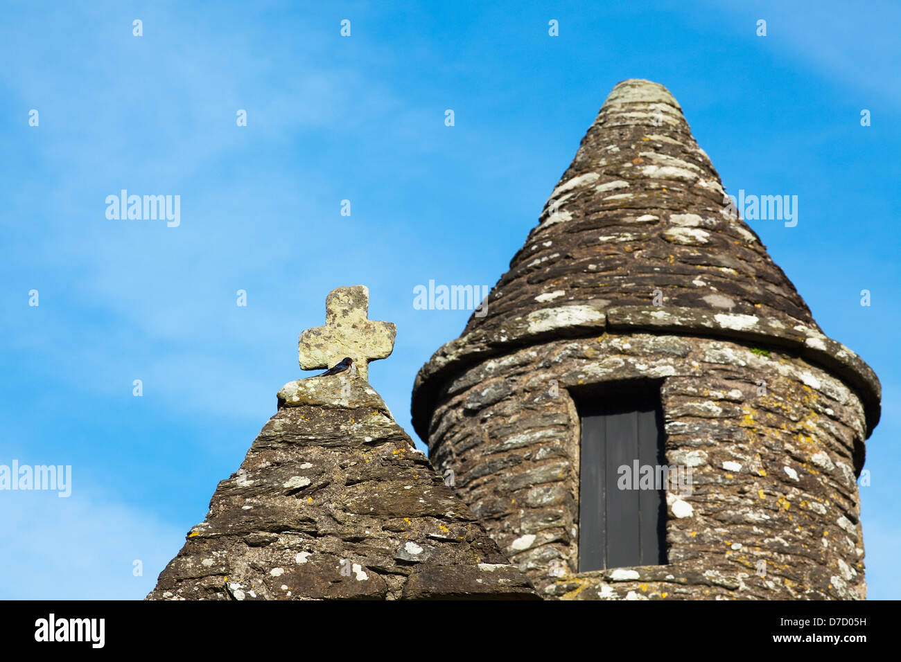 Belfry with conical roof of saint kevin\'s church;Glendalough county ...