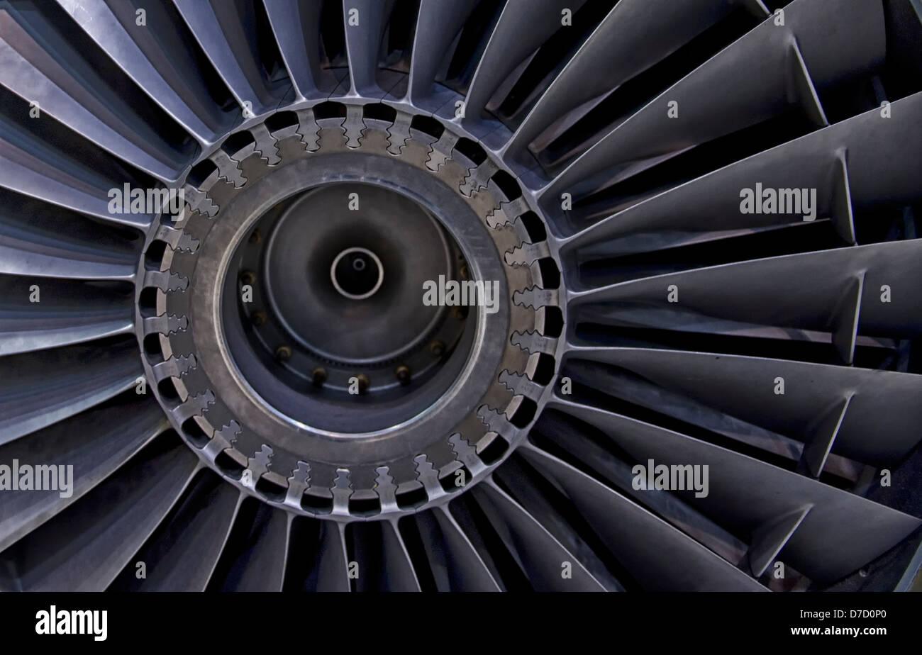 Jet engine turbine blade background detail image. - Stock Image