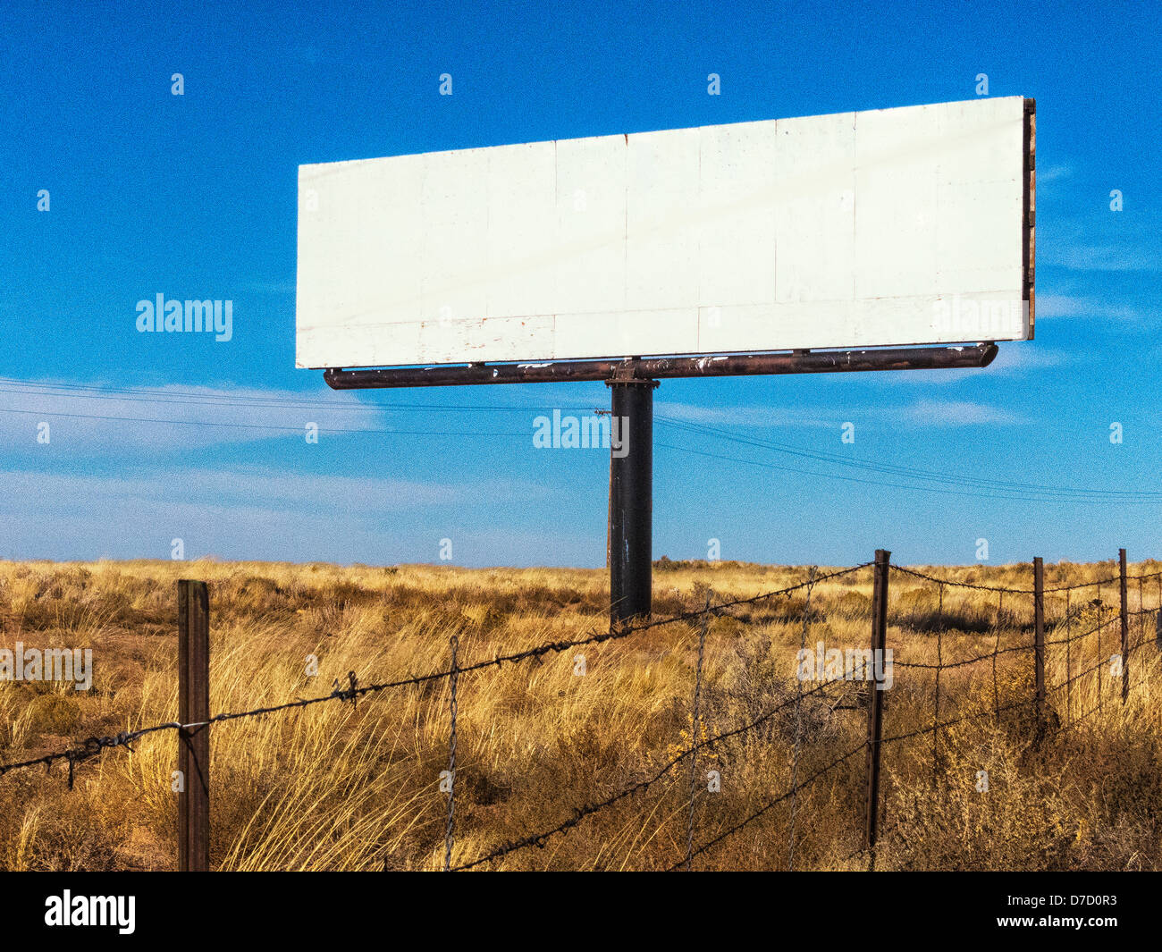 the middle of nowhere a blank bill board outside of holbrook stock