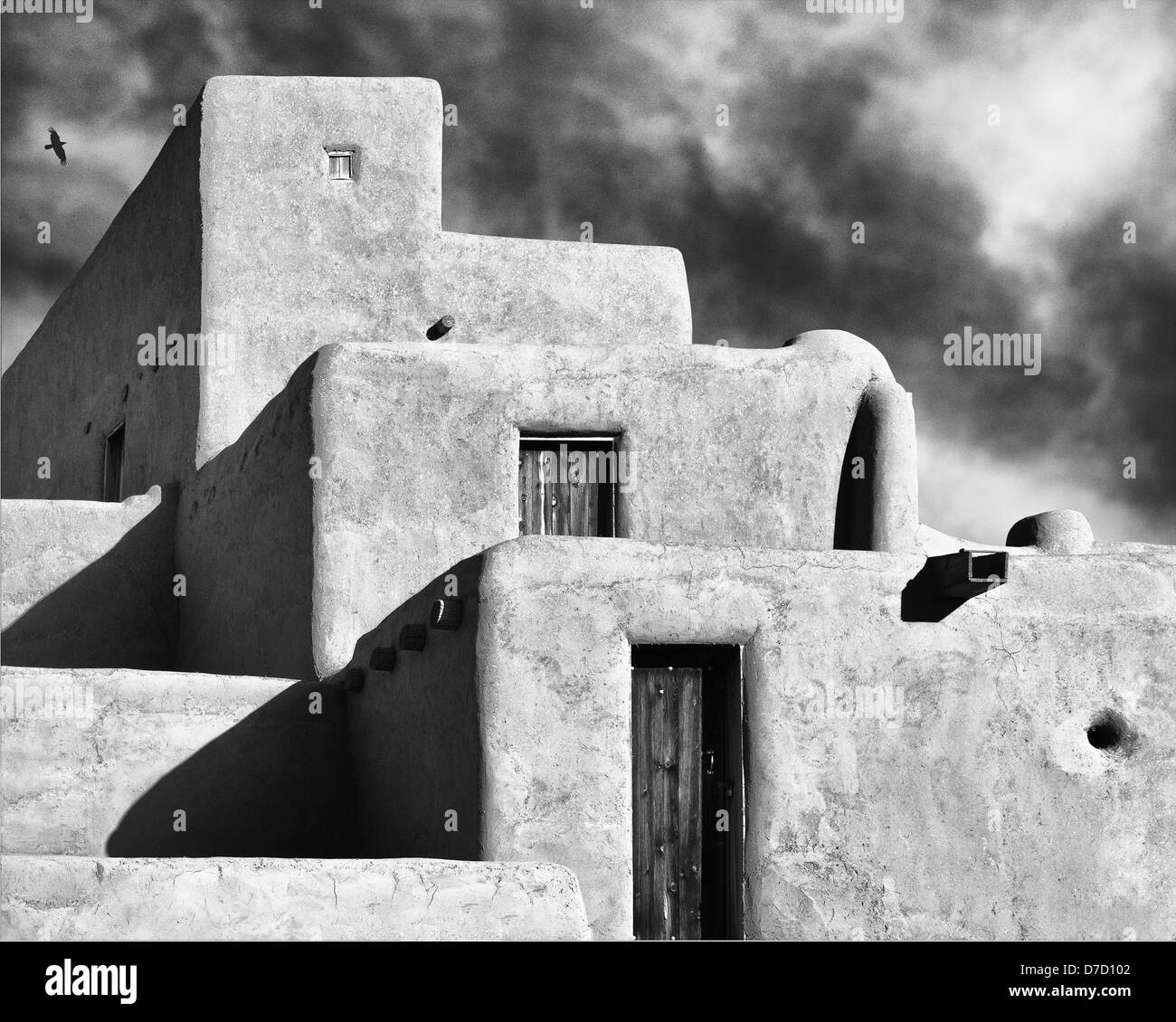 The Taos Pueblo Stacks. Black and White image in the style of W.H.Jackson and Ansel Adams - Stock Image