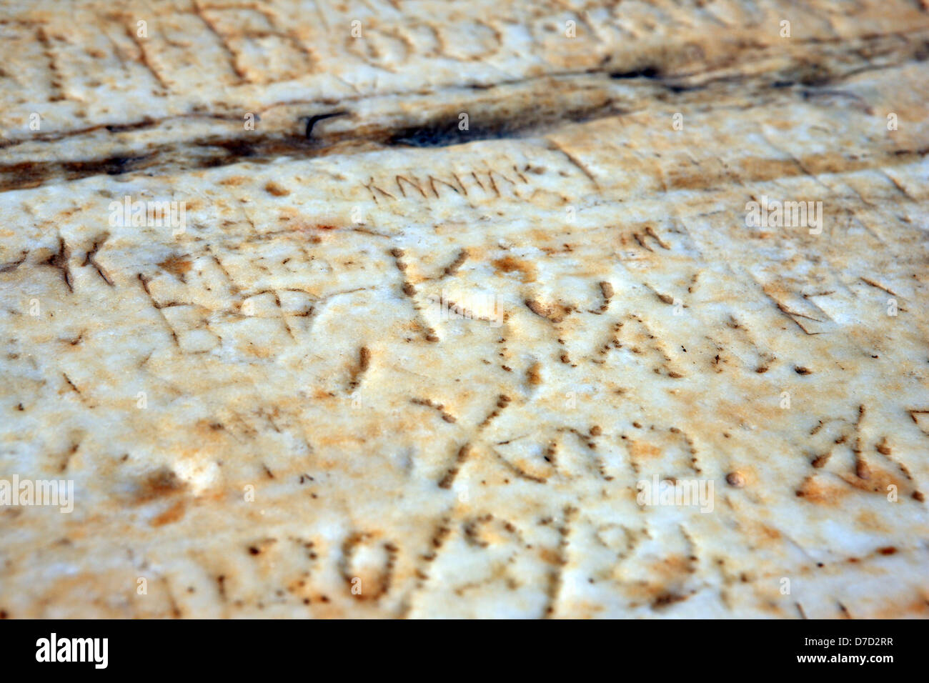 Graffiti scratched into marble at the Acropolis in Athens Greece - Stock Image