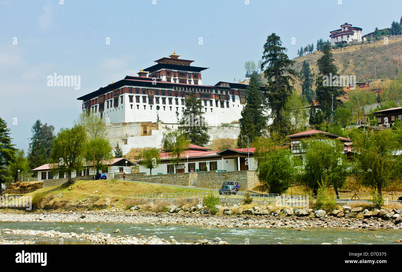 Rinpung Dzong is a large Drukpa Kagyu Buddhist monastery and fortress in Paro District in Bhutan. - Stock Image