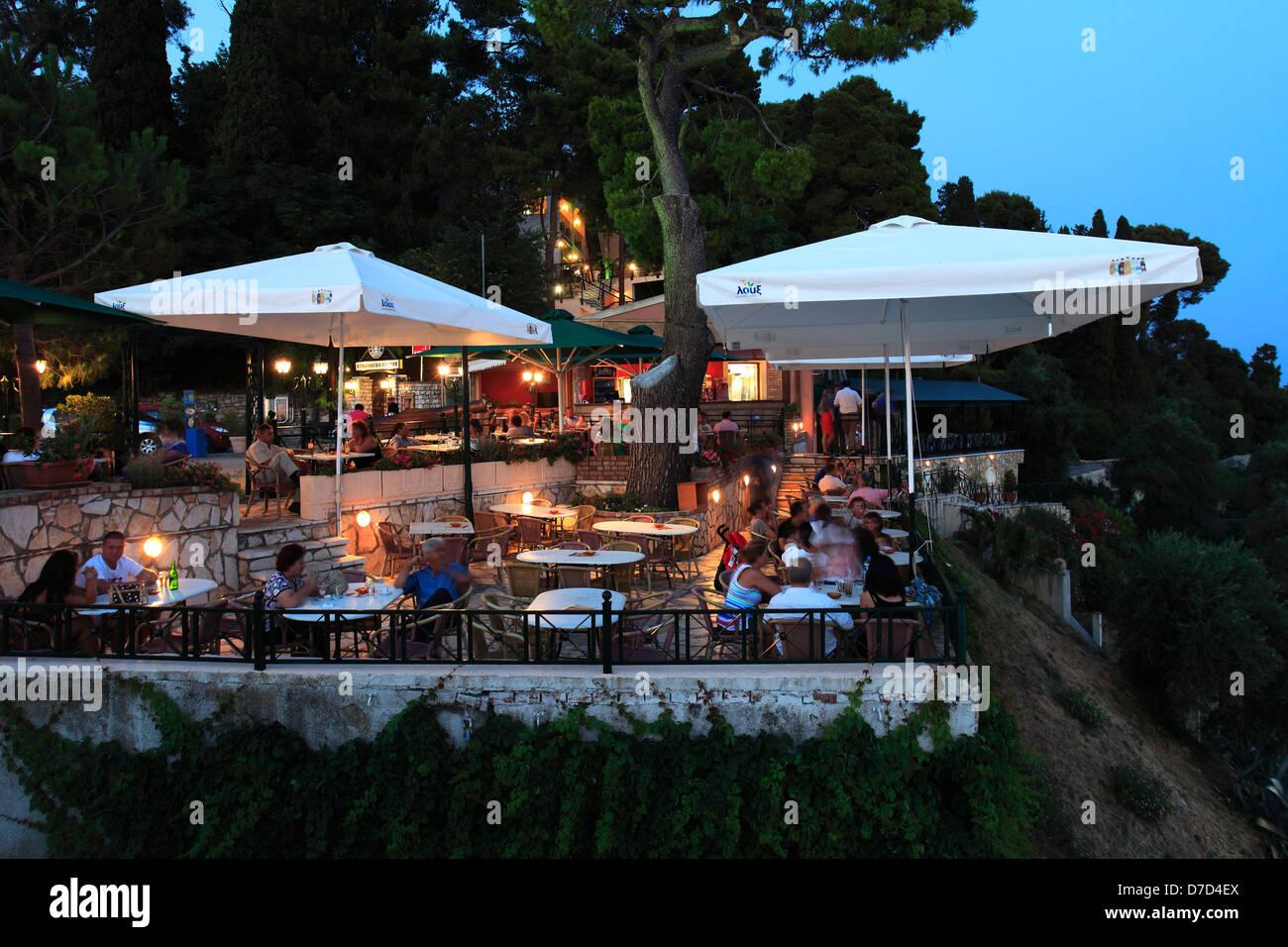 Café bar overlooking mouse Island, Corfu Town, Corfu Island, Greece, Europe - Stock Image