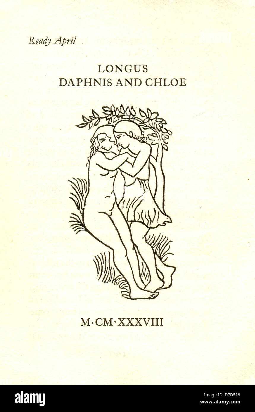 Prospectus for a limited edition of Longus Daphnis and Chloe with woodcuts by Aristide Maillol. - Stock Image