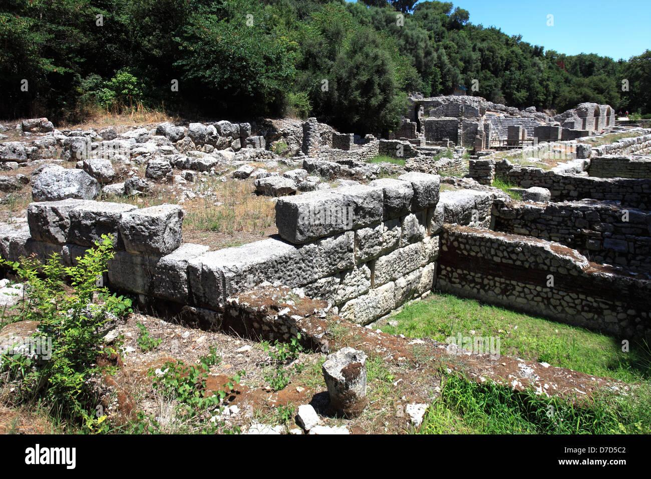 Ruined buildings, ancient Butrint, UNESCO World Heritage Site, Butrint National Park, Saranda District, Albania, - Stock Image