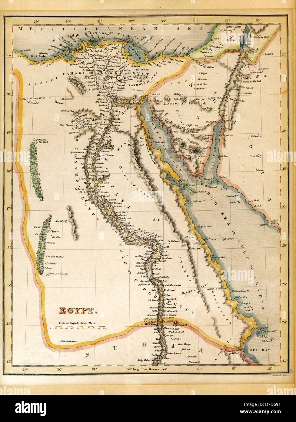 An old 19th century map engraved printed in England in 1845 depicting Egypt (Jerusalem in north down to border Nubia - Stock Image