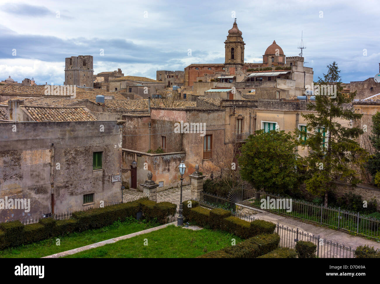 Churches and old buildings, Erice, ancient town, Sicily, Italy - Stock Image