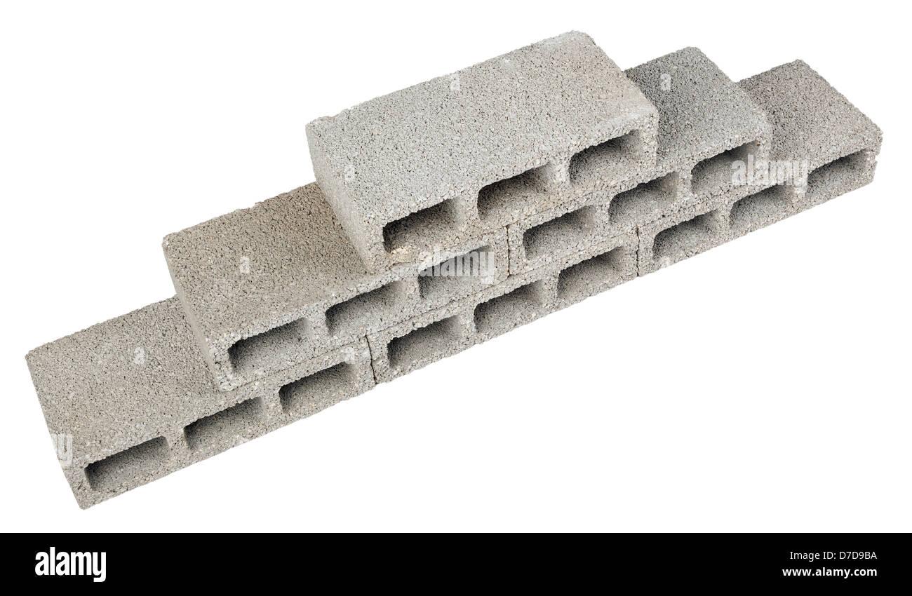 38f4fe8723e4c Six gray concrete construction blocks (a.k.a. cinder block breeze block  cement block foundation block besser block;
