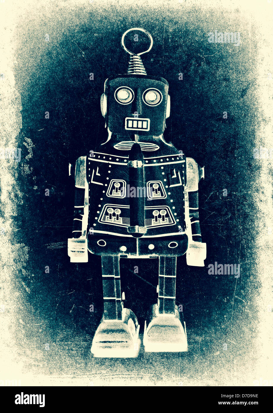 old robot (retro inspired image) - Stock Image