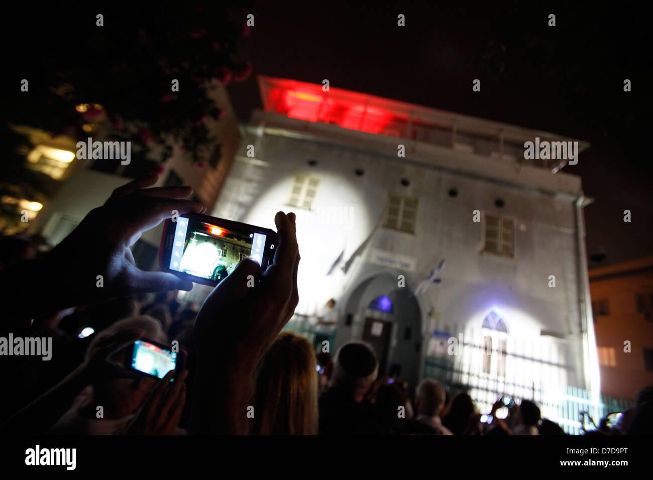 Guerrilla Lighting event in downtown Tel Aviv israel - Stock Image