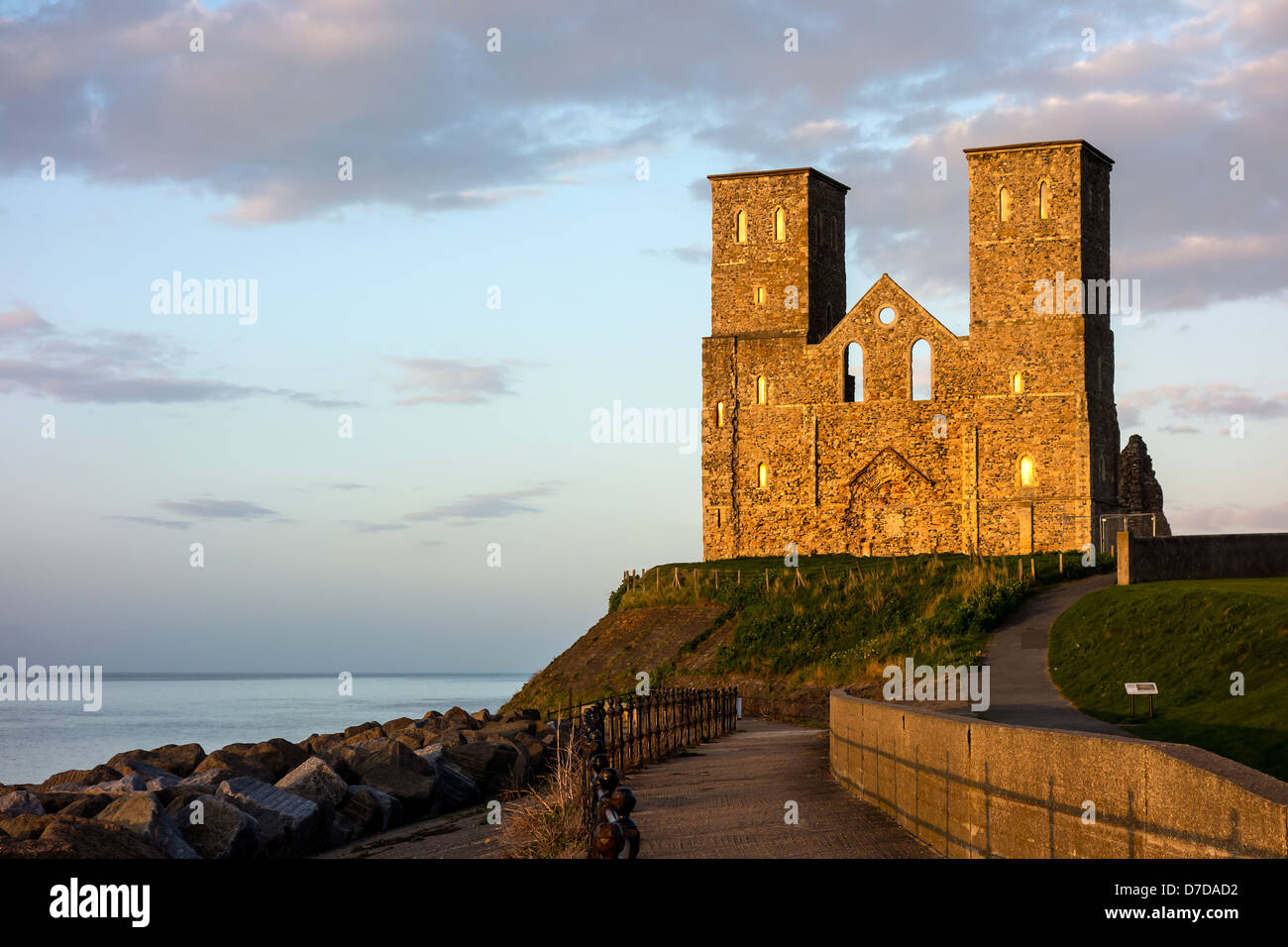 Reculver Towers Herne Bay Kent England at Sunset Stock Photo