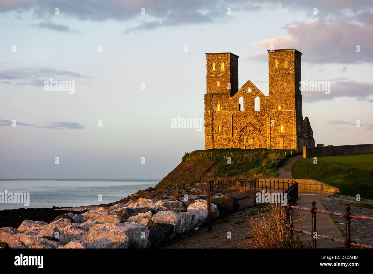 Reculver Towers Herne Bay Kent England at Sunset Stock Photo