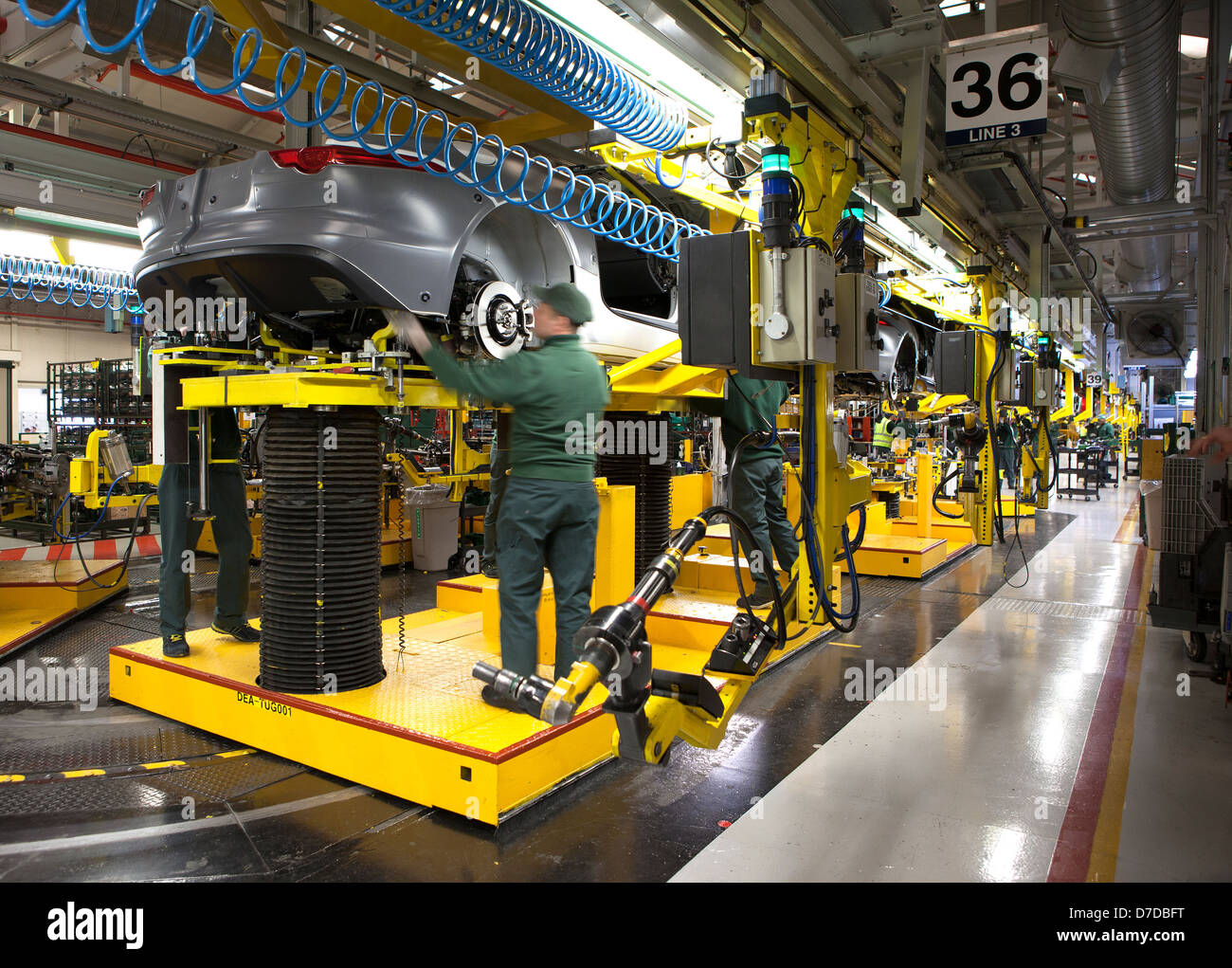 Inside Jaguar Car Plant in Castle Bromwich, Birmingham on the production line of the new F-Type sports car. March - Stock Image