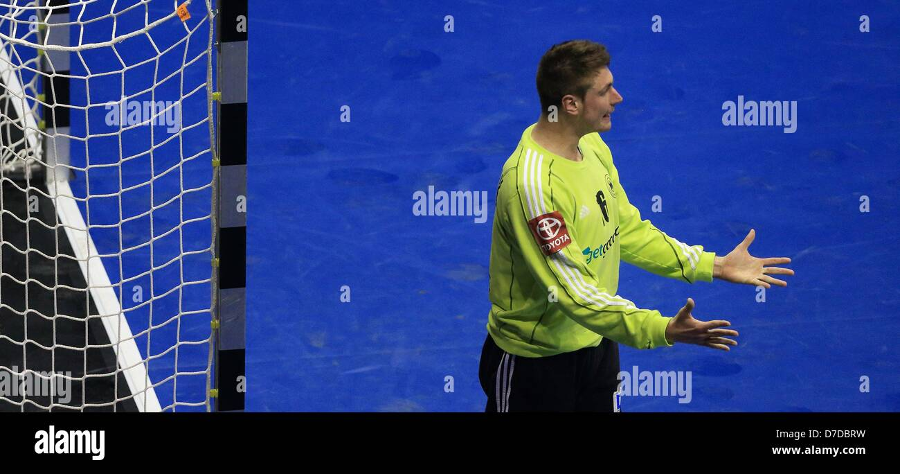 German keeper Carsten Lichtlein gestures during the handball match Germany vs Slovenia in the  GETEC Arena in Magdeburg, - Stock Image